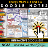 NGSS MS-PS3-4 and MS-PS3-5 Doodle Notes Vocabulary Review