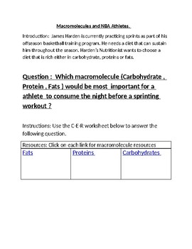 NGSS -Macromolecules and Athletes : CER