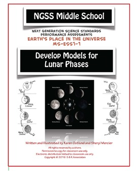 NGSS Middle School Develop Models for Phases of the Moon MS-ESS1-1