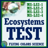 Ecosystems Ecology Test (Middle School NGSS Aligned)