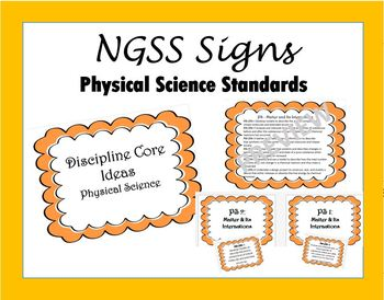 NGSS Middle School - Physical Science DCI Signs