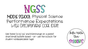 NGSS Middle School Physical Science Display with student tags