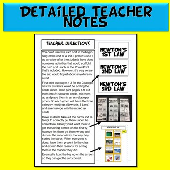 NGSS Newton's Laws Card Sort & 50 Slide PowerPoint