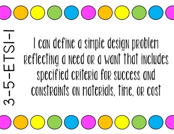 NGSS Objectives - 5th Grade I Can Statement Posters - Polka Dot