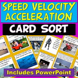 NGSS PS2.A Motion: Speed Velocity Acceleration Card Sort