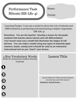NGSS Performance Task: Mitosis