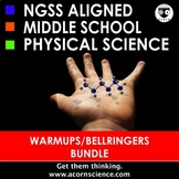 Middle School NGSS Physical Science Bellringers Warmups Bundle