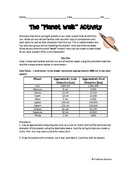 NGSS Planet Walk Activity - Modeling planet size & distance from sun MS-ESS1-3