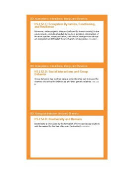 NGSS Planning Cards - HS-LS2 Ecosystems: Interactions, Energy, and Dynamics