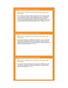 NGSS Planning Cards - MS-LS4 Biological Evolution: Unity a