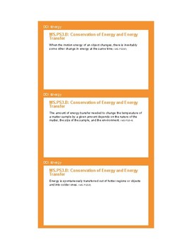 NGSS Planning Cards - MS-PS3 Energy