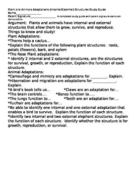NGSS:  Plant and Animal Structures/Adaptations Study guide