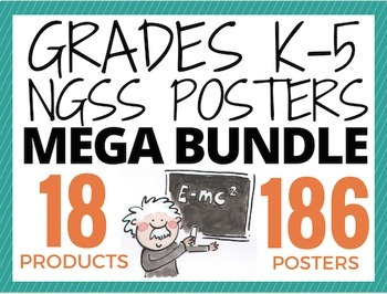 """NGSS Posters MEGA BUNDLE (186 posters) K-5 """"I Can..."""" Next Generation Science"""