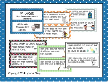 "NGSS Posters -1st Grade- Next Generation Science (Common Core Align) ""I Can..."""