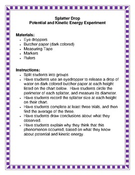 NGSS/STEM Potential and Kinetic Energy Experiments