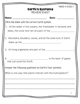 ngss resource earth 39 s systems worksheet by the patriot teachers. Black Bedroom Furniture Sets. Home Design Ideas