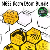 NGSS Room Decor Bundle: SEP and CCC Honeycomb Pattern Bulletin Board Sets