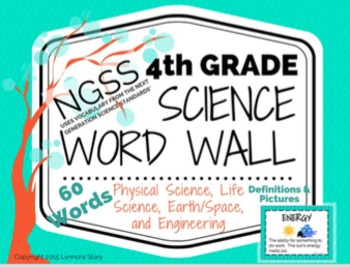 Science Word Wall (NGSS) - 4th Grade - Vocabulary Cards