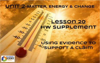 NGSS/STEM Lesson 20 HW Supplement-Using Evidence To Support A Claim