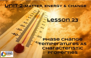 NGSS/STEM Lesson 23 Phase Change Temperatures as Characteristic Properties