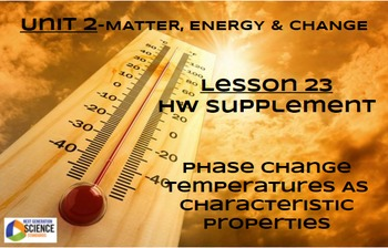 NGSS/STEM Lesson 23 Supplement-Phase Change Temps as Characteristic Properties