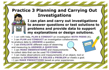 Next Generation Science and Engineering Practices Posters NGSS Grades K-2 11x17