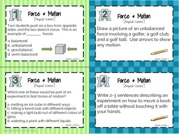 NGSS Science Task Cards YEAR LONG BUNDLE (144 Cards)- 3rd Grade