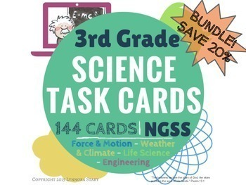 NGSS Science Task Cards YEAR LONG BUNDLE (144 Cards) 3rd Grade