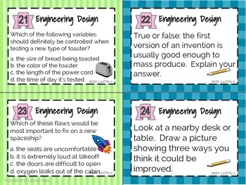 NGSS Science Task Cards: Engineering (24 Cards) 3rd 4th 5th Grade