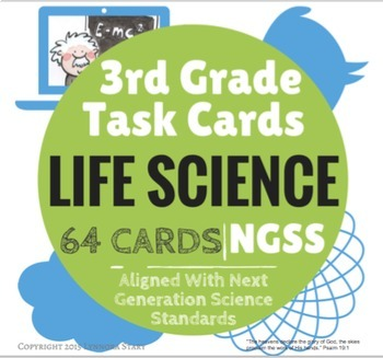 NGSS Science Task Cards: Life Science (Biology) -64 Cards- 3rd Grade