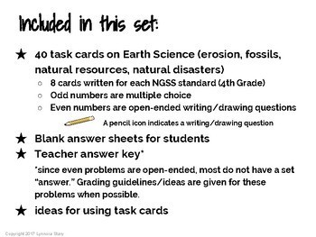 NGSS Science Task Cards: The Earth (40 cards)