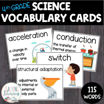 NGSS & Inspire Science Vocabulary & Word Wall Cards - 4th Grade