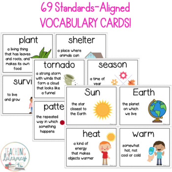 NGSS & Inspire Science Vocabulary & Word Wall Cards - Kindergarten