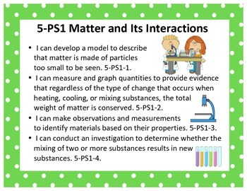 Next Generation Science and Engineering Standards Posters NGSS 5th Grade 8.5x11