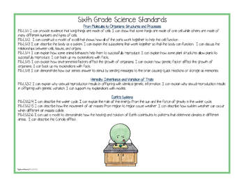 """NGSS Sixth Grade (INTEGRATED) Standards """"I Can"""" Posters & Statement Cards"""