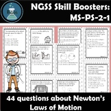Newton's Laws Task Cards NGSS Skill Boosters: MS-PS-2-1 an