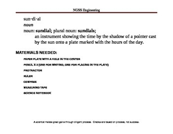 NGSS Sundial Engineering Challenge