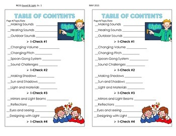 NGSS Table of Contents - Sound and Light, Gr. 1