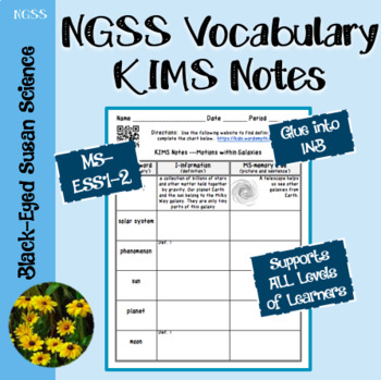 NGSS Vocabulary KIMS Notes MS-ESS1-2