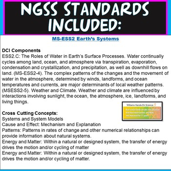 NGSS MS-ESS2-4: Water Cycle Card Sort and Vocabulary Chart