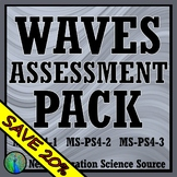 Waves Quiz & Test Assessment Bundle NGSS MS-PS4-1 MS-PS4-2 MS-PS4-3