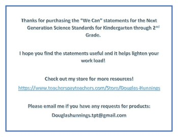 """NGSS """"We Can"""" Statements K-2 Bundle"""
