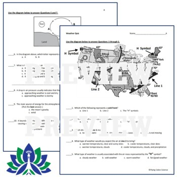 NGSS Weather Quiz Assessment - Middle School MS-ESS2-5
