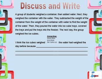 NGSS aligned activities to teach conservation of weight (and mass and matter)...