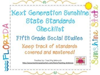 NGSSS Fifth Grade Social Studies Standards Checklist
