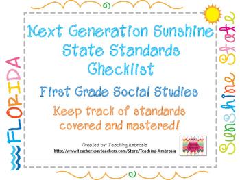 NGSSS First Grade Social Studies Standards Checklist