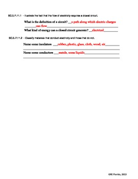 NGSSS Forms of Energy/Energy Transfer and Transformations Study Guide