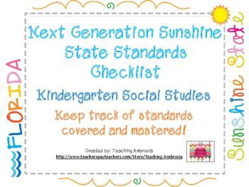 NGSSS Kindergarten Social Studies Standards Checklist