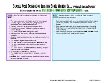 NGSSS Organization/Development of Living Organisms Teacher/Student Bundle