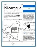 NICARAGUA - Printable handouts with map and flag to color